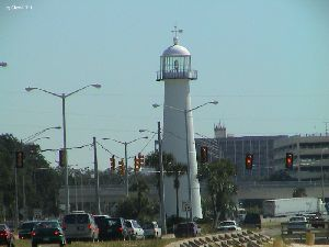 The lighthouse in the center of town.