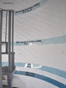 Hurricane water marks inside the tower.