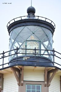 Close up of the lantern room and Fresnel lens.
