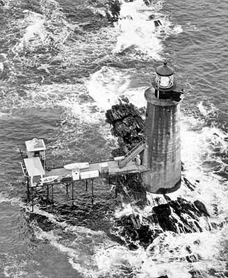 U.S. Coast Guard Archive Photo of the Ram Island Ledge Lighthouse in 1951