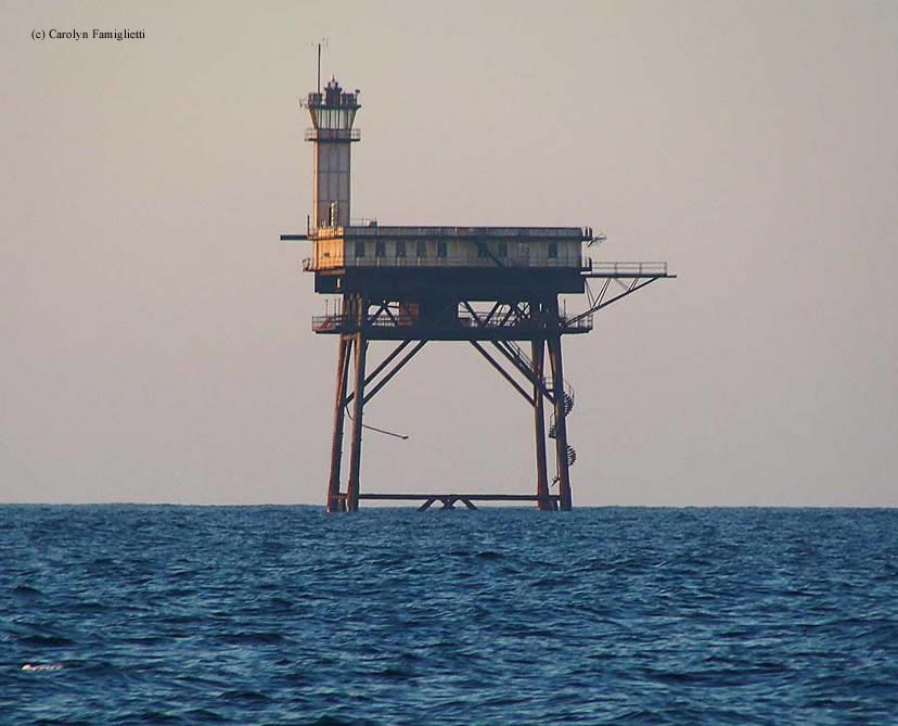 Photo of the Diamond Shoals Lighthouse.