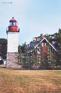 Side view of lighthouse and quarters.