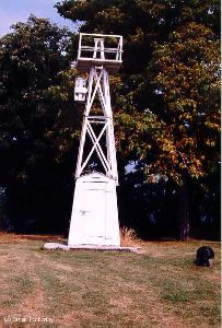 Grand Island Rear Range Lighthouse (1925) that was relocated to the Dunkirk Lighthouse Grounds.