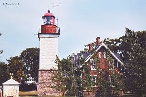 Lighthouse and oil tower.