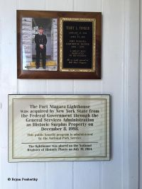 Plaque commemorating Terry Yonker, Fort Niagara Lighthouse Keeper.