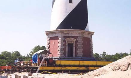 Photo of Cape Hatteras being moved in 1999