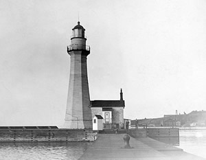 1837 Oswego Lighthouse after being raised