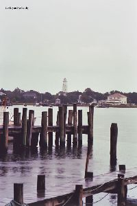 The lighthouse as viewed from across Silver Lake.