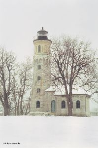 Beautiful shot of the tower in the snow.