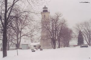 The tower in a snowy setting.