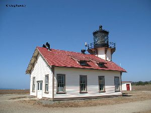 Side view of the Point Cabrillo Lighthouse.