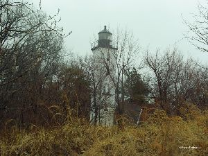 Obscured view of the lighthouse.